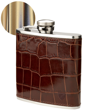 Classic 5oz Leather Hip Flask, £49, Aspinal of London